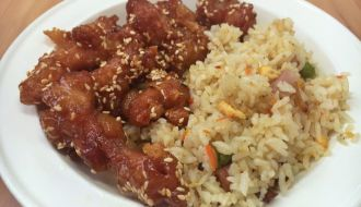 Rice and Honey Chicken Combination