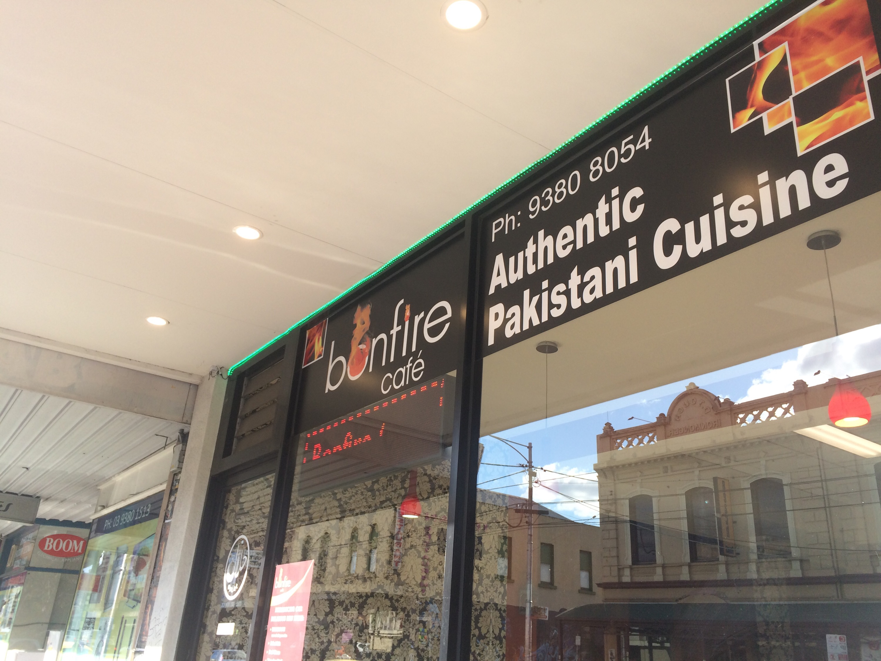 A view of the Bonfire Pakistani restaurant from outside on the Sydney Road, Melbourne - Victoria.
