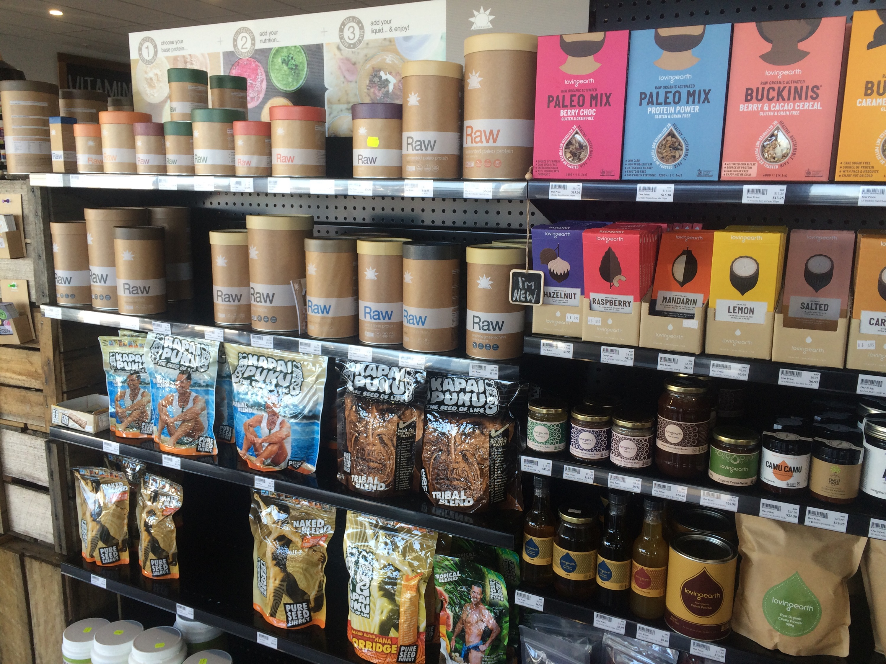Some organic products and health foods at the Go Vita Store.