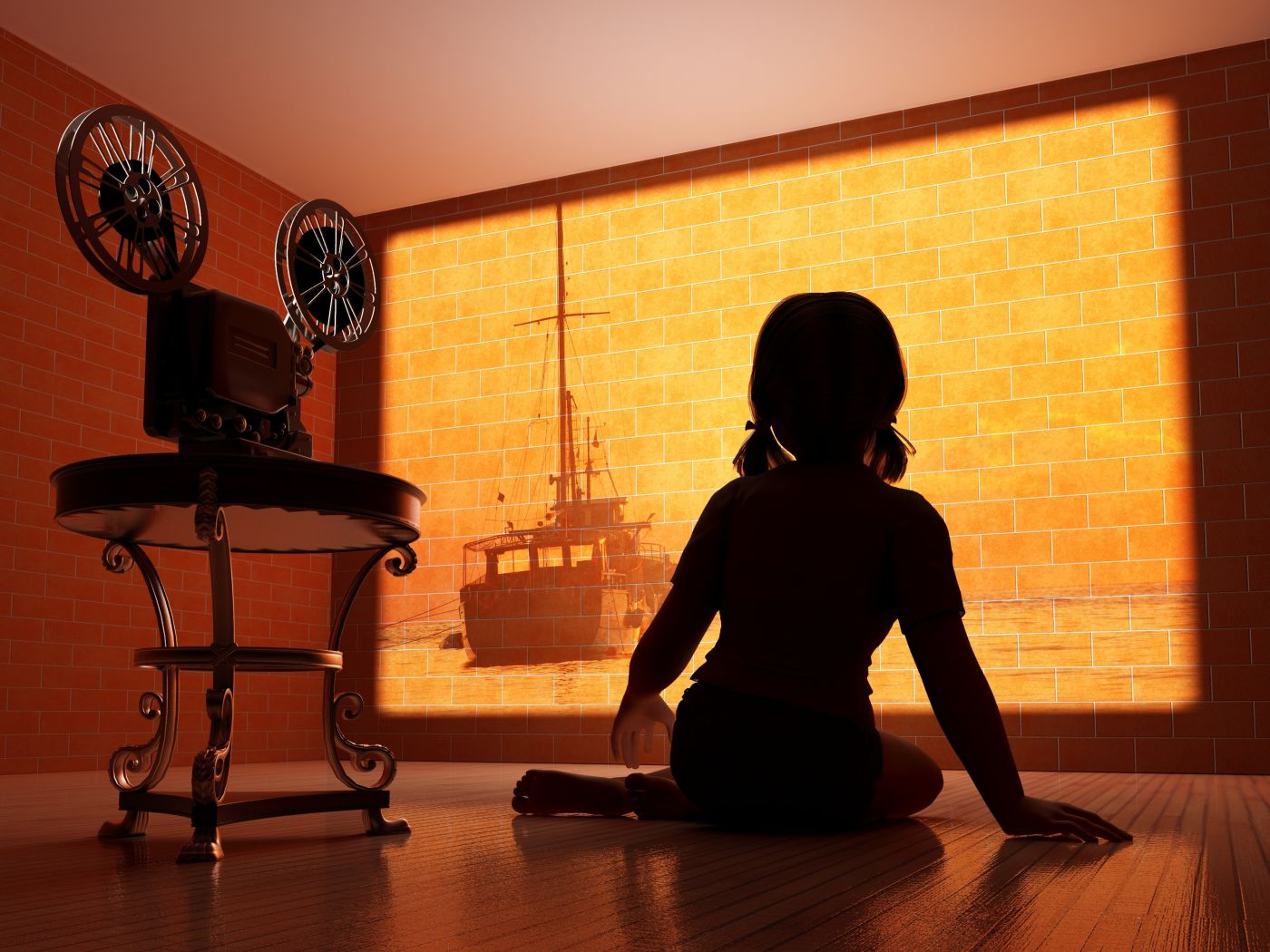 Silhouette of a child outside the movie camera.
