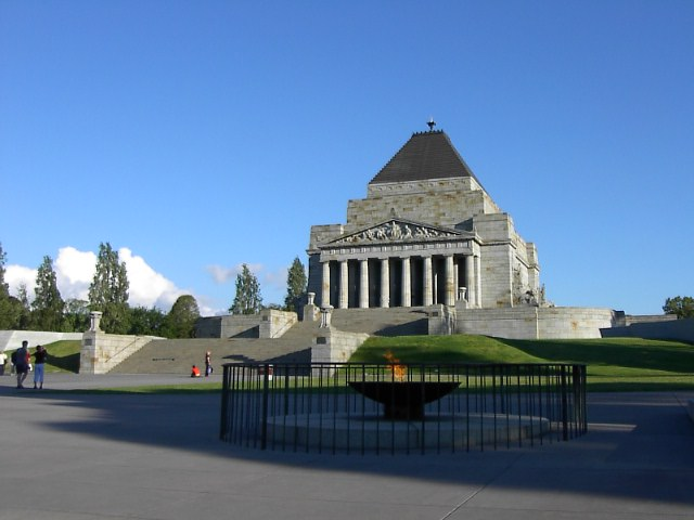 shrine of remembrance from outside melbourne