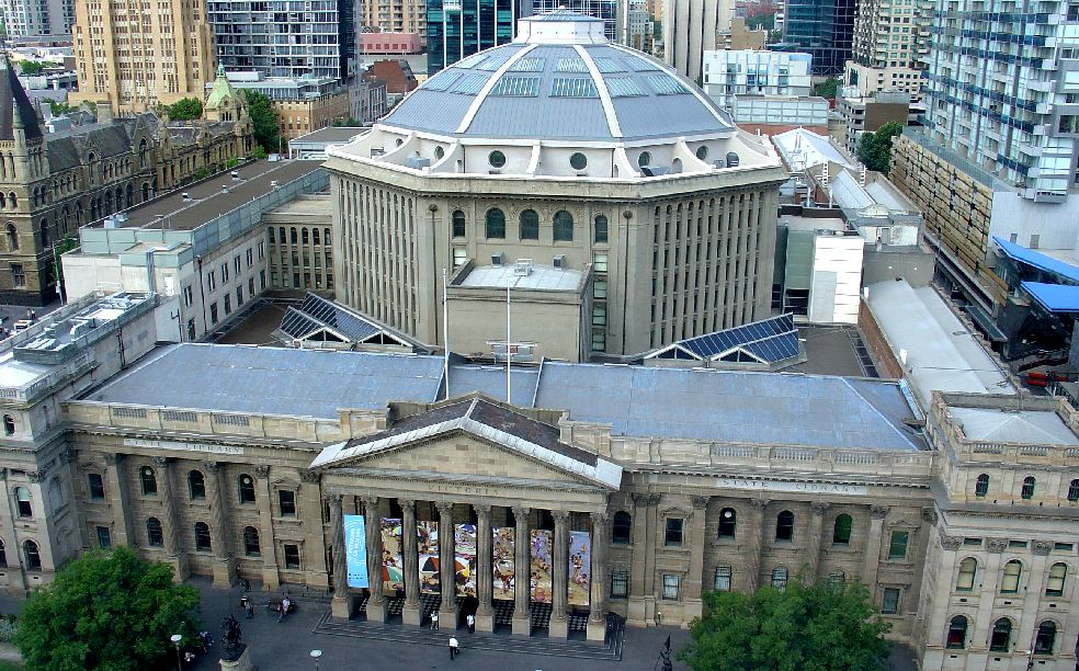 state library of victoria from above melbourne